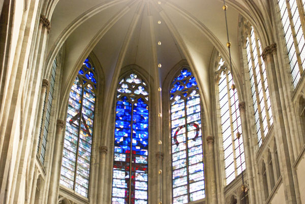 Photo of stain glass windows in Cathedral and Dom Tower in Utrecht