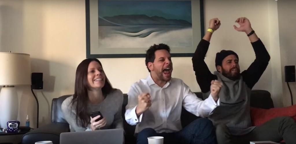 Adam Benzine celebrates his nomination