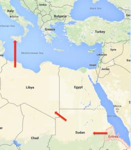 Eritrean refugee route