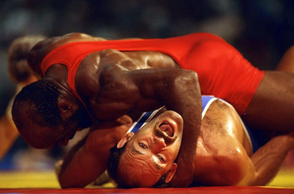 5 Aug 1992: Terrence Parker (top) of New Zealand pins down Chris Campbell (bottom) of the USA during the Light-Heavyweight (up to 90 kilograms) Freestyle Wrestling event at the 1992 Olympic Games in Barcelona, Spain. Campbell went on to win the bronzemedal. Mandatory Credit: Shaun Botterill/Allsport