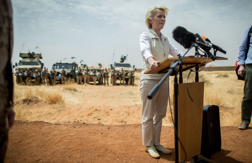 German defense minister Ursula von der Leyen delivers a speech in front of German soldiers , at Camp Castor near Gao, Mali Tuesday April 5, 2016. Von der Leyen stays in Mali for a three day visit and meets soldiers of the German army Bundeswehr stationed there as part of the Mission ASIFU-MINUSMA. (Michael Kappeler/Pool Photo via AP)