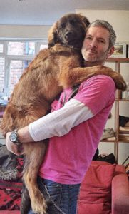 Kevin Maher in bright pink t-shirt holding Leonberger Elsa
