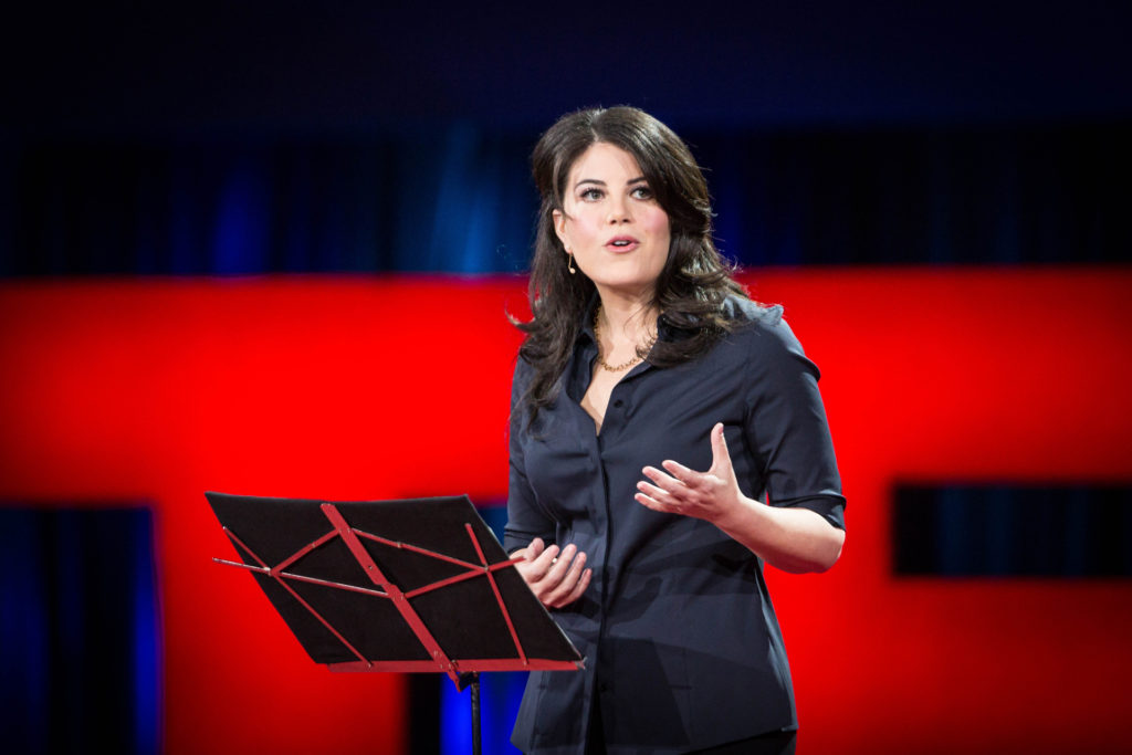Monica Lewinsky speaking at a TED conference
